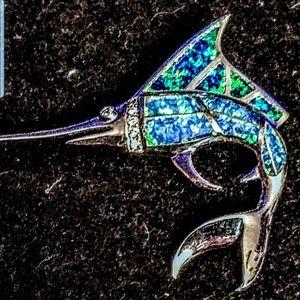 Jewelry - Vintage Australian blue opal 925 Marlin brooch
